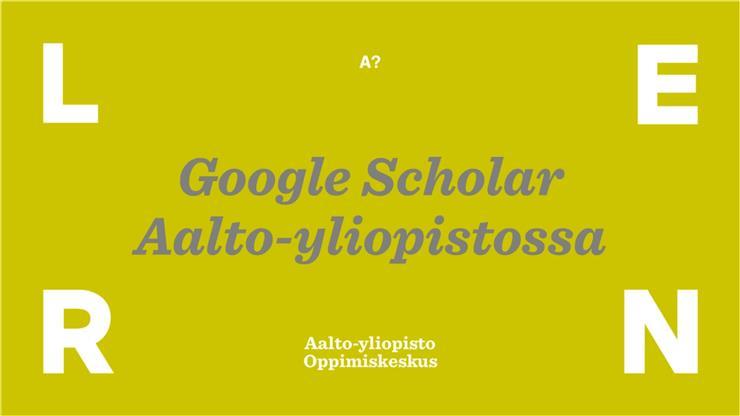 Google Scholar Aalto